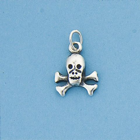 Genuine 925 Sterling Silver Skull and Crossbones Charm /  Pendant